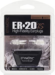 Etymotic Research ER20XS High-Fidelity Earplugs (Concerts, Musicians, Airplanes, Motorcycles, Sensitivity and Universal Hearing Protection) - Large, Clear Stem