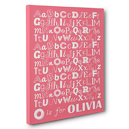 Amazon.com: Alphabet Nursery CANVAS Wall Art - Personalized Baby ...