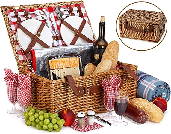 NEW 4 PERSON PICNIC BASKET SET WITH COOLER BAG BLANKET STAINLESS STEEL CUTLERY