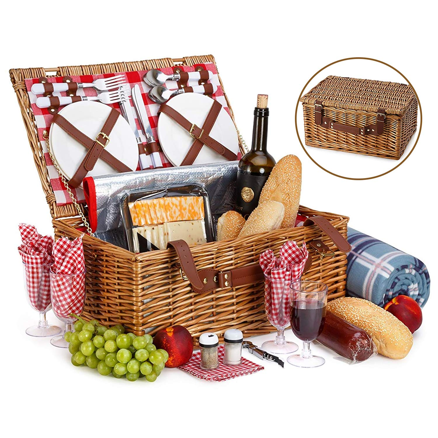 Picnic Basket Set For 4 With Insulated Cooler Bag- 30 Pc Kit Includes Wicker Basket with Handle and Lid, Wine Glasses, Stainless Steel Flatware, Ceramic Plates, Linen Napkins, Utensil Set and Blanket by Vysta