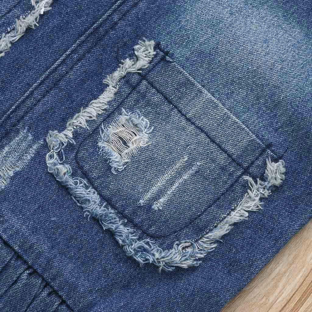 Shi Tou/_Children Toddler Baby Girls Jean Sleeveless Solid Pocket Hole Denim Overalls Dress