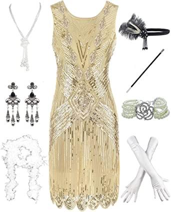 Amazon Com Women 1920s Gatsby Sequin Art Deco Scalloped Hem Inspired Flapper Dress With Accessories Clothing