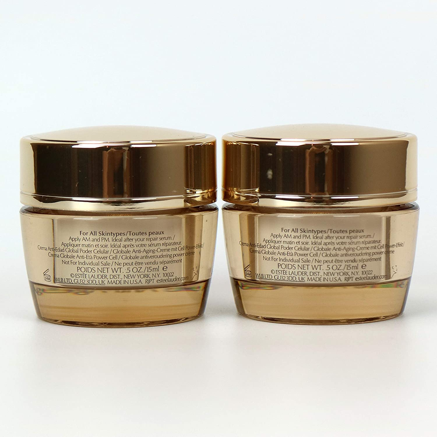 Lot 2 x Estee Lauder Revitalizing Supreme Global Anti-Aging Cell Power Creme 0.5 oz 15 ml each, 1 oz 30 ml total