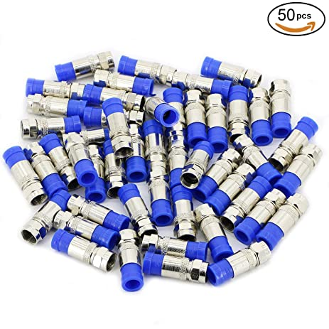 Pasow 50 Pcs Rg6 F Connector Adapter Plug Coax Compression Satellite Cable Coaxial Tv Fitting