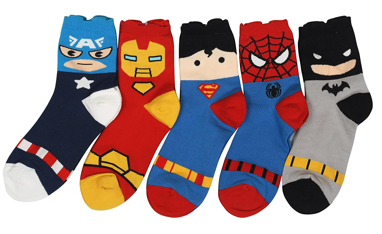 e4c87b3ecdff Customonaco Women Cute Superhero Cartoon Socks (Heroes 5-Pack) at Amazon  Women's Clothing store:
