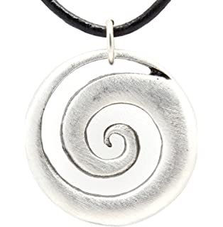 Amazon silver spiral necklace from ireland celtic jewelry pewter maori spiral koru peace and tranquility pendant on leather necklace aloadofball Images