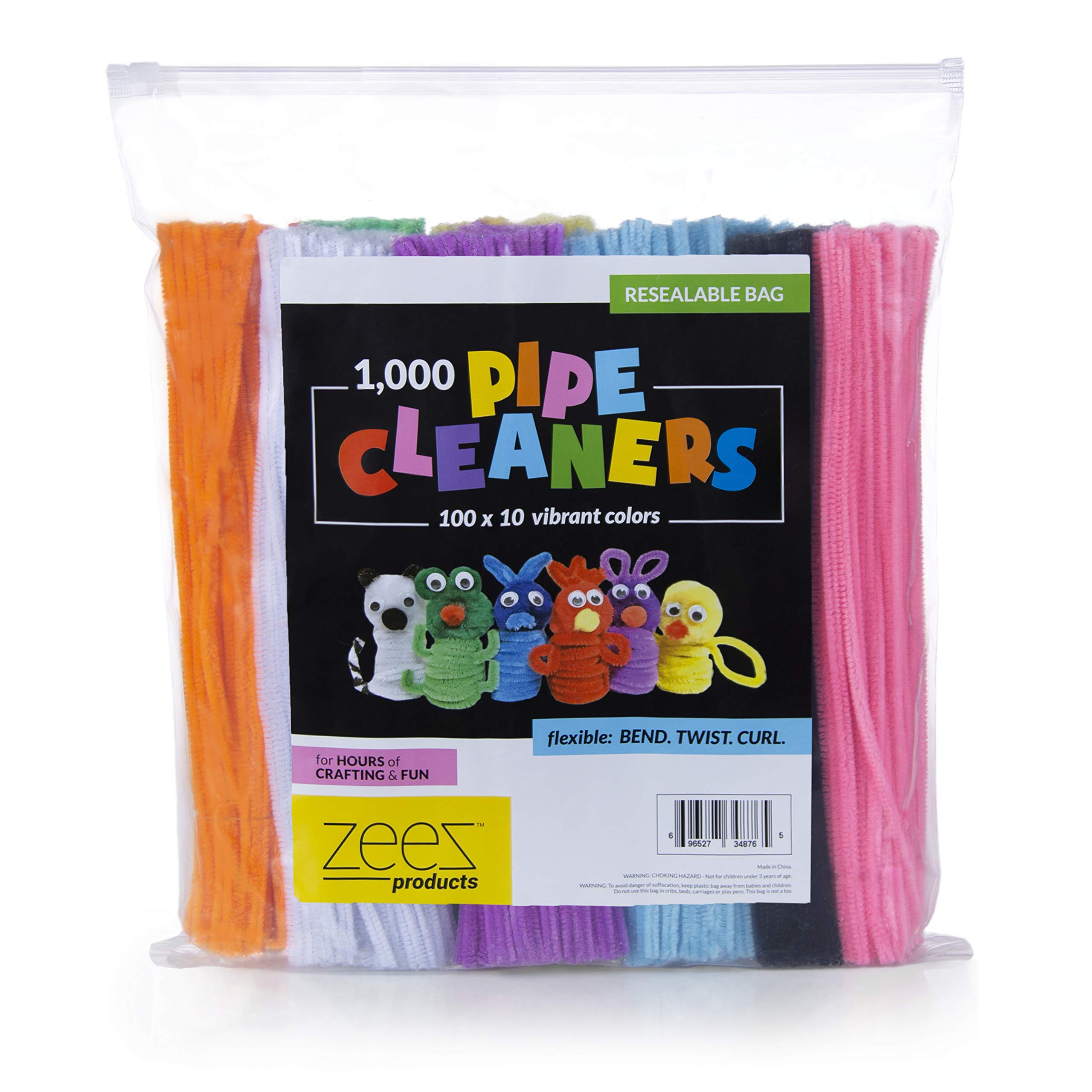 Zees 1,000 Pipe Cleaners in 10 Assorted Colors, Value Pack of Chenille Stems for DIY Arts and Craft Projects and Decorations - 6mm x 12 Inches by zees products (Image #3)