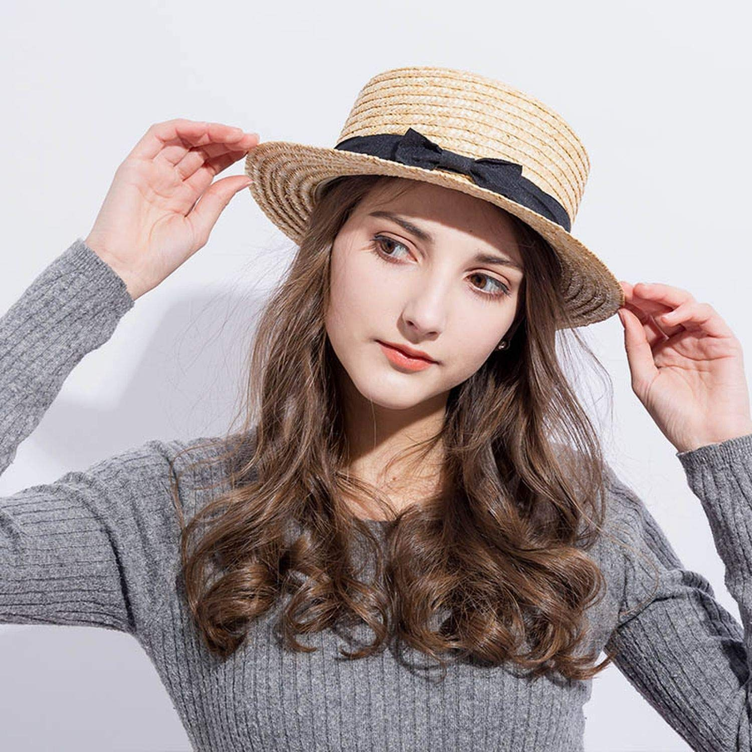 Sun Caps Ribbon Round Flat Top Straw Beach Hat Summer Hats for Women Straw Hat