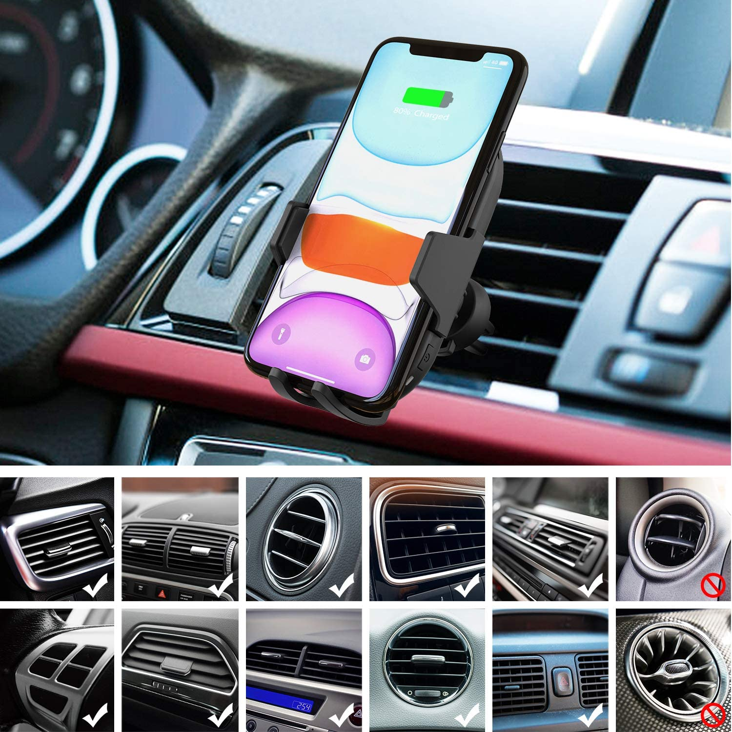 Air Vent//Suction Phone Holder for Car for iPhone 11//11 Pro//11 Pro Max//Xs MAX//XS//XR//X//8//8+,Samsung S10//S9//S8 iClever Wireless Car Charger 10W//7.5W QI Fast Charging Car Mount with Automatic Clamp