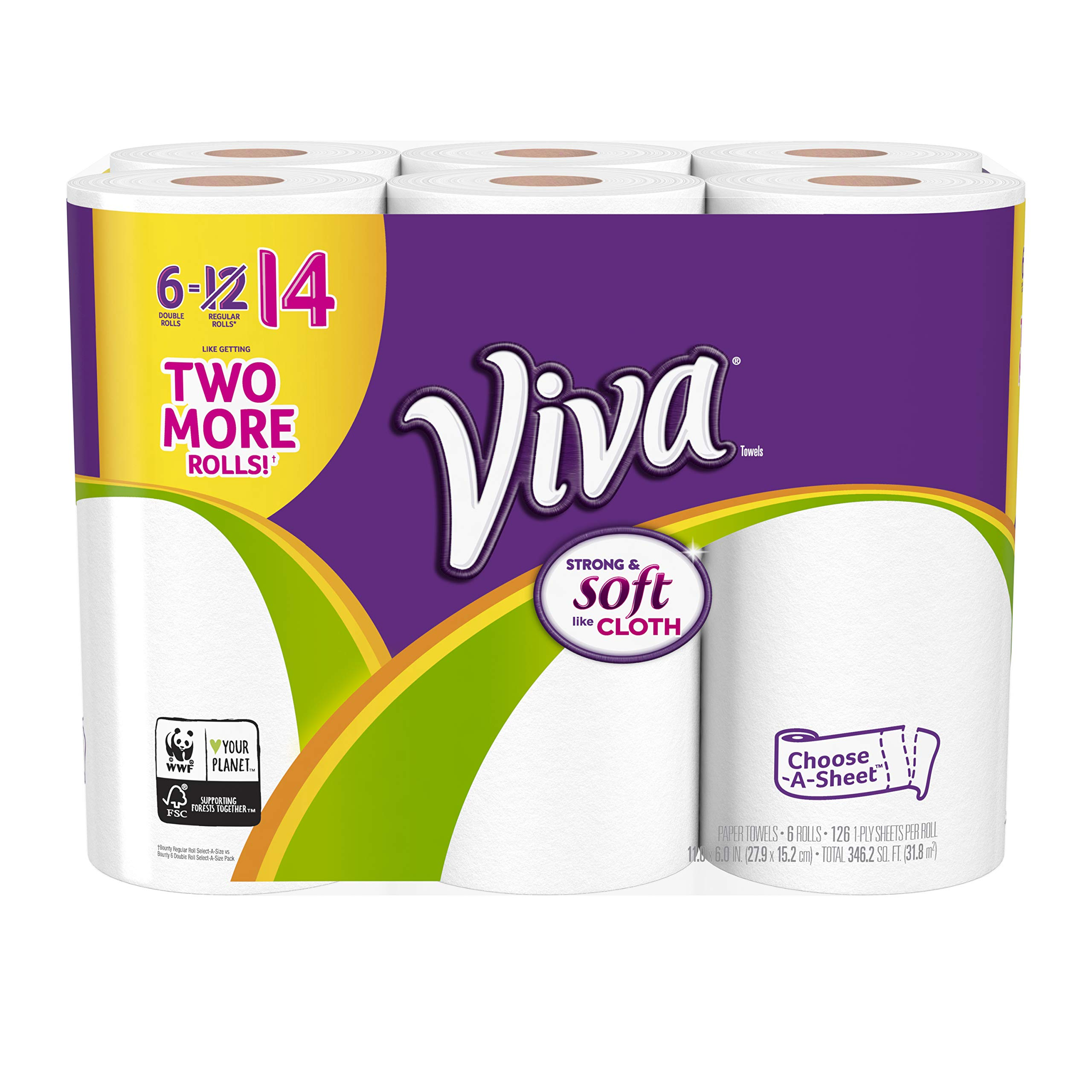 Viva Choose-A-Sheet* Paper Towels White Double Roll 6 Rolls