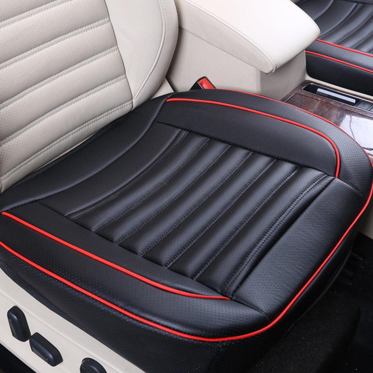 ZHENWOCAI 50x50cm PU Leather Buckwhear Shell Filling Car Cushion Chair Car Seat Cover Auto Interior Pad Mat New (Color : Black)