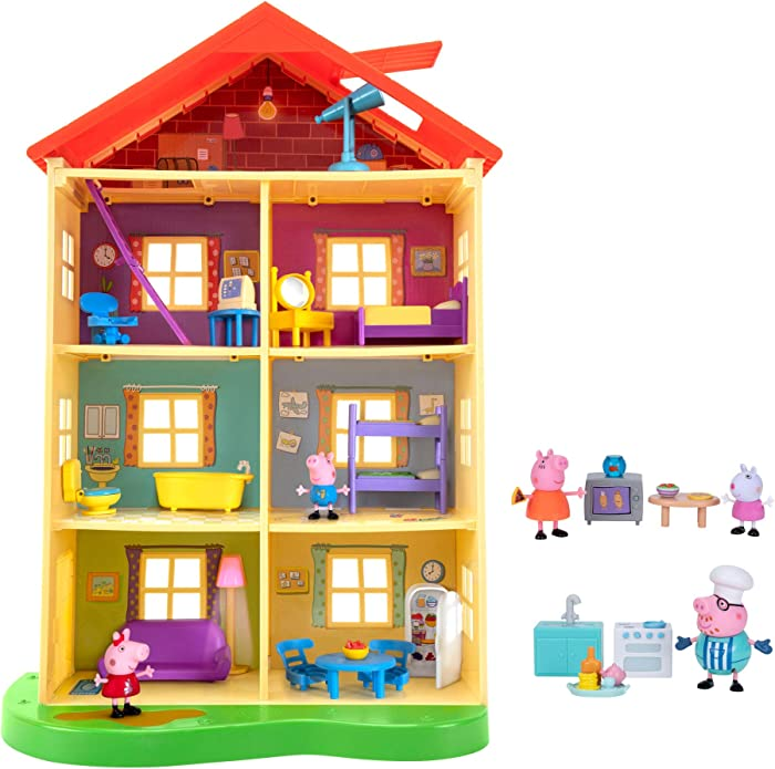 Peppa Pig Lights N' Sounds Family Home, with Two Bonus Little Rooms - Includes 5 Character Toy Figures Plus Toy Home Furnishings for a Total of 20 Fun Accessories - Amazon Exclusive