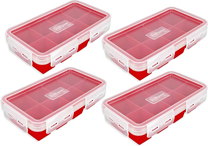 IceTopper XL Ice Cube Tray with Attached Lids - Easy Release Ice Cube Molds, 8 Large Cubes per Tray, Stackable, Microwave & Dishwasher Safe, 100% Food Grade Silicone, BPA Free & Recyclable (4 Pack)