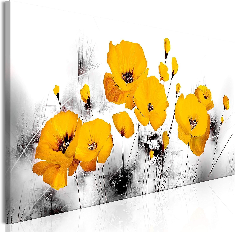 murando Cuadro Acústico Flores Amapolas 135x45 cm Impresión Artística Lienzo de Tejido no Tejido Estampado Decoración de Pared Aislamiento Absorción de Sonidos Abstracto Gris Amarillo b-A-0511-b-a