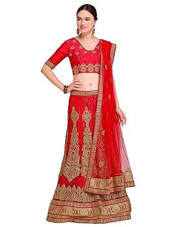 8c8fa95d398 TANVI ENTERPRISE Women s Net Unstitched Lehenga Choli (Red   Gold ...
