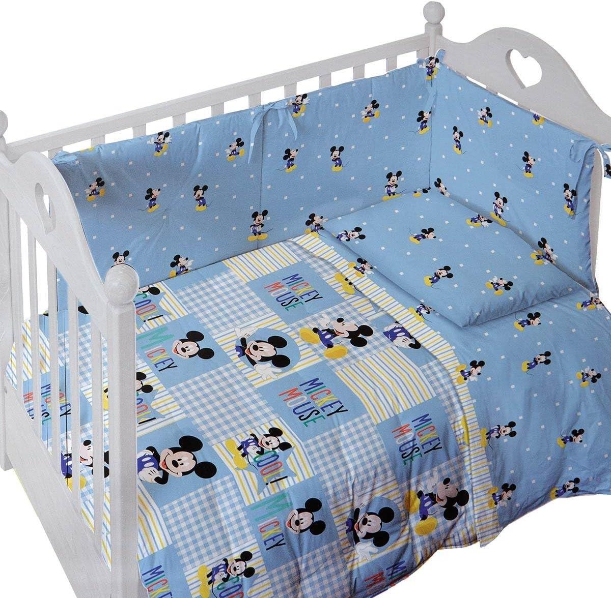 Beddengoed Bedlinnen Set Lenzuola Lettino Baby Neonato Topolino Mickey Forever Azzurro Disney Caleffi Luxclusif Com
