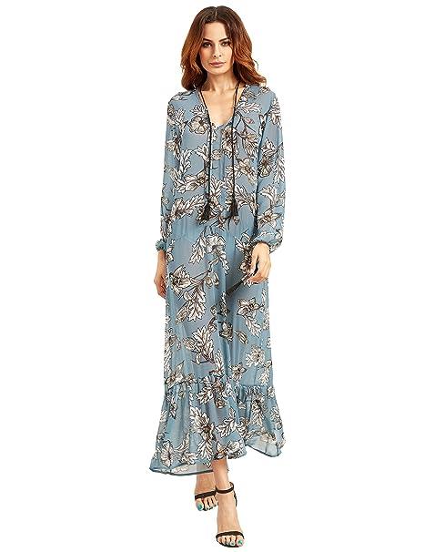 SHEIN mujeres floral impresión de manga larga Loose Sheer Maxi vestido