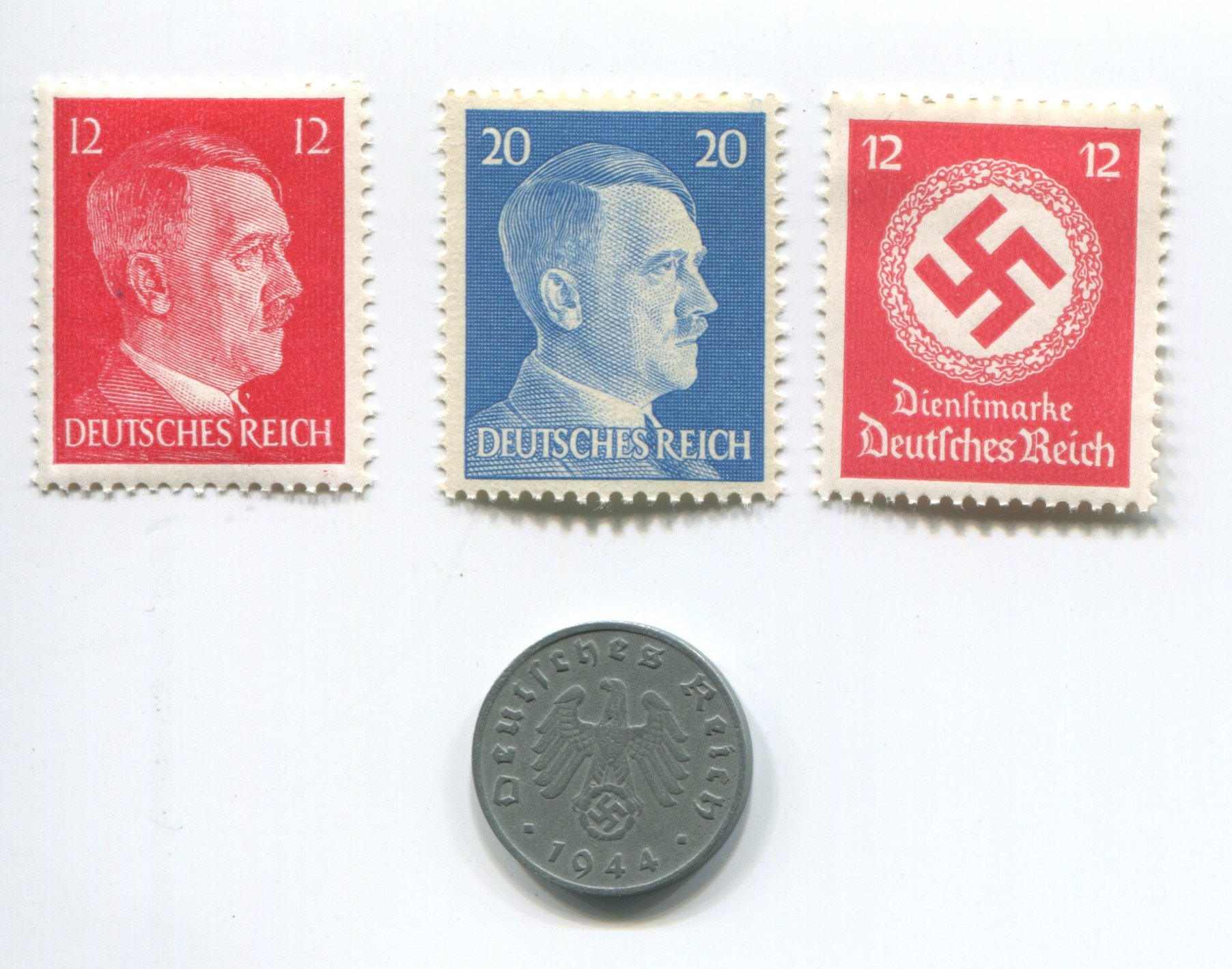 Premium Nazi World War Two WW2 German Third Reich Swastika Coin and Hitler Stamp Set / Collection
