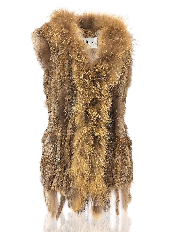 Uilor Women Knitted Rabbit Fur Vest with pocket 27017