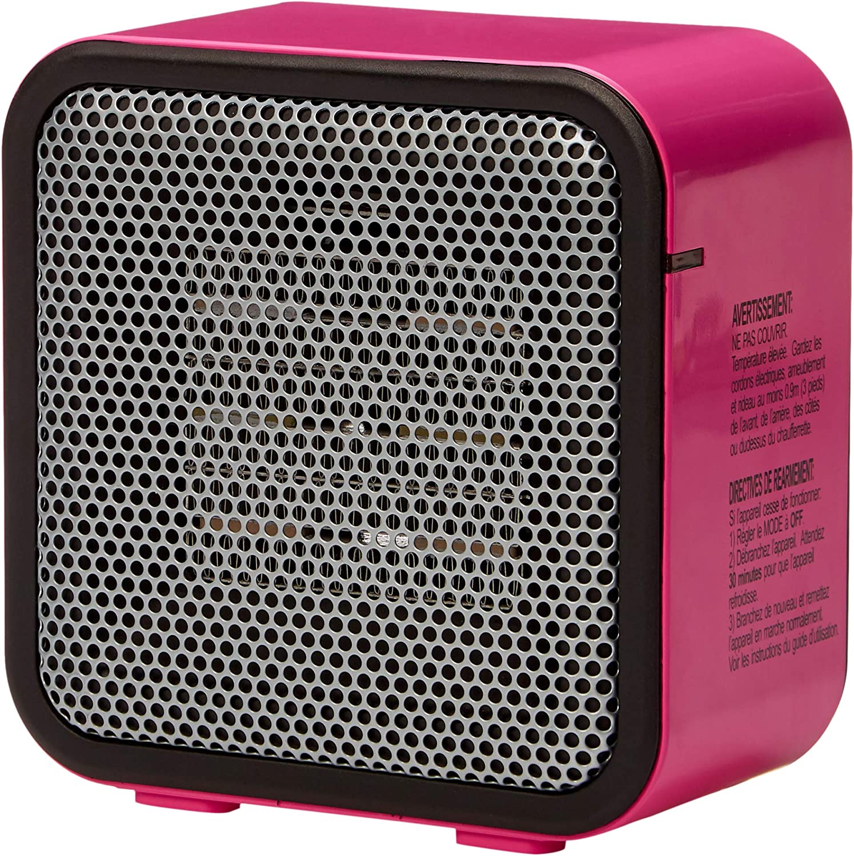 AmazonBasics 500-Watt Ceramic Small Space Personal Mini Heater - Pink