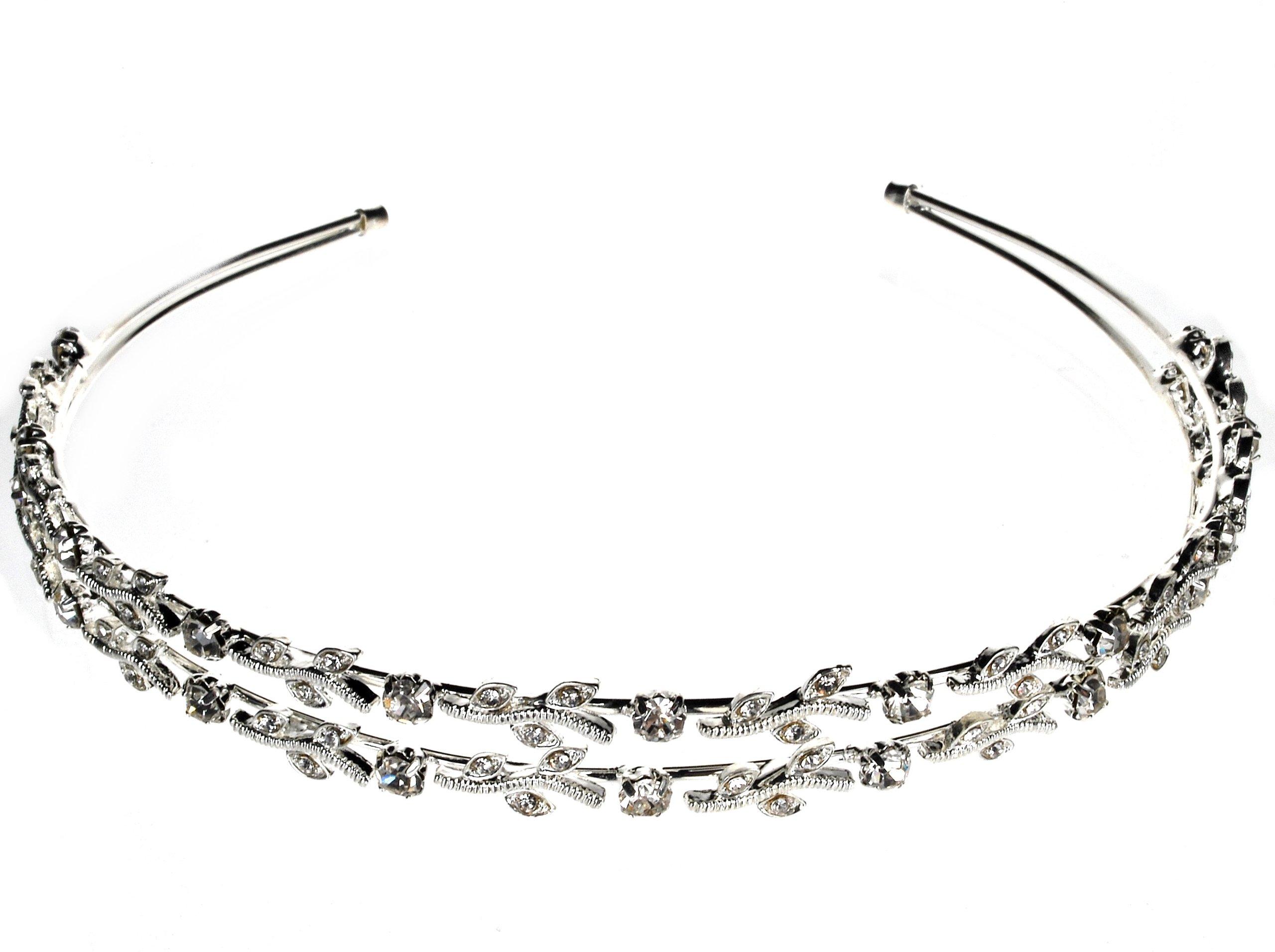 SC Bridal Wedding Tiara Crown Double Headband With Leaves C5347