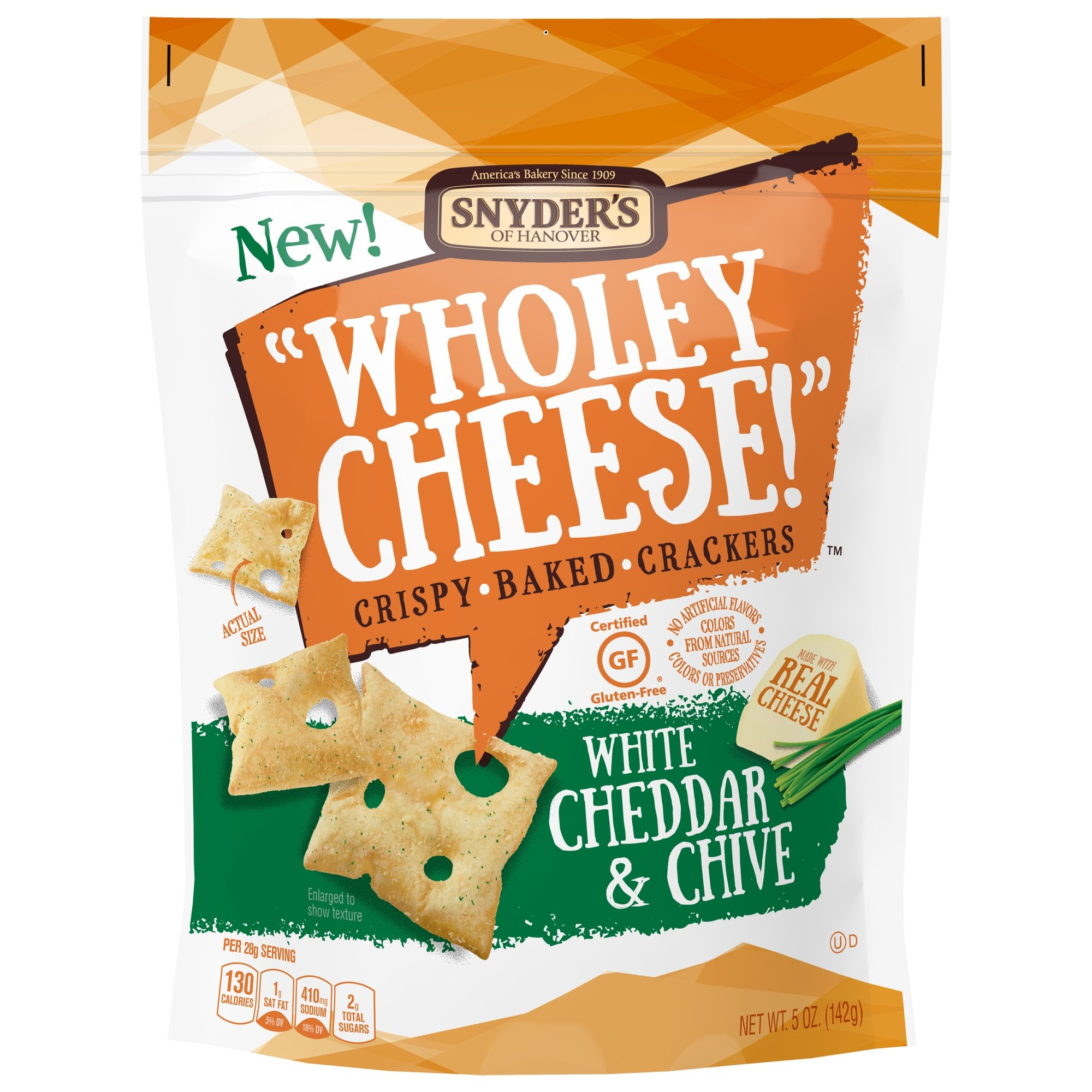 Snyder's of Hanover Wholey Gluten Free Baked Cheese Crackers, White Cheddar & Chive, 5 Ounce