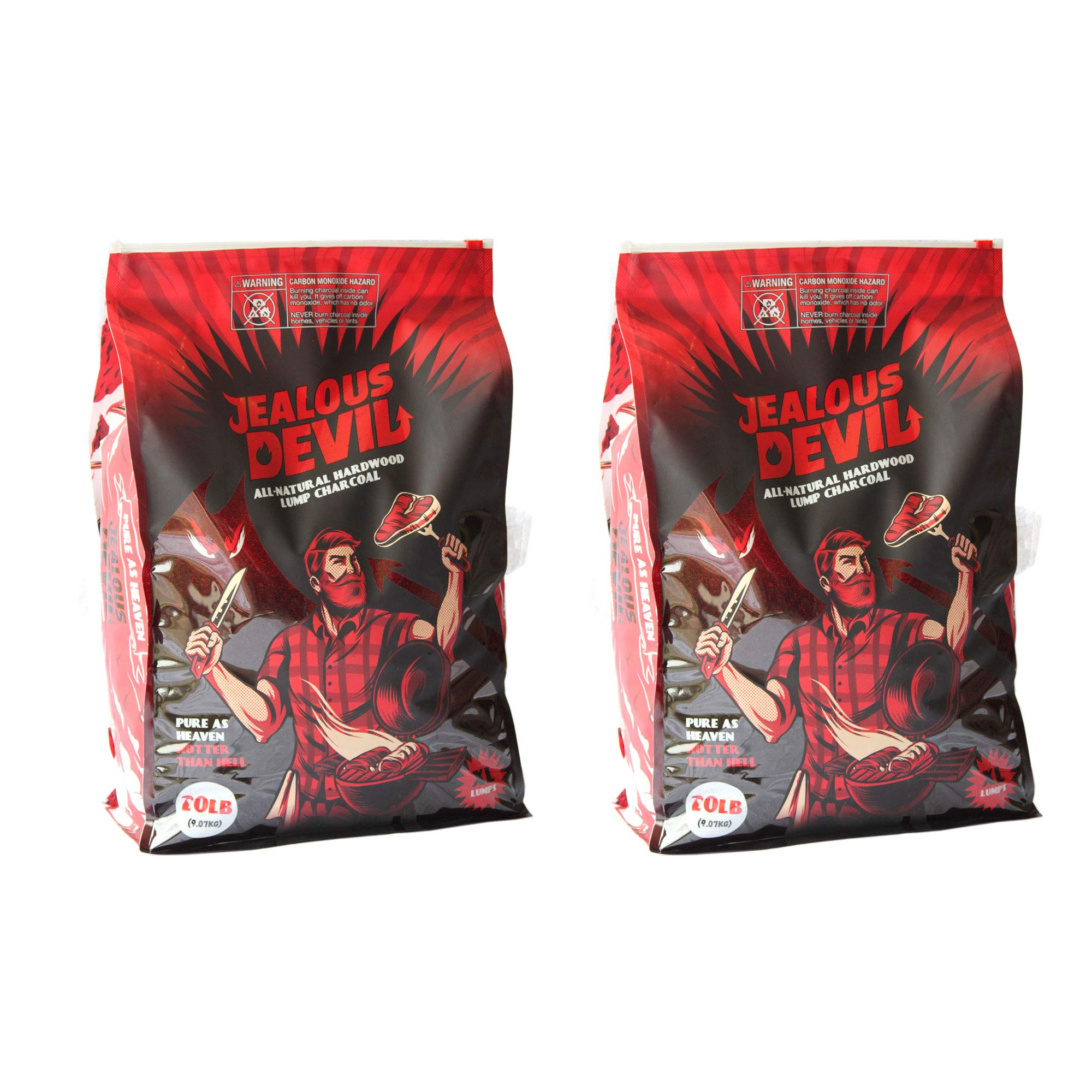 Jealous Devil All Natural Hardwood Lump Charcoal (2-20lb Bags)