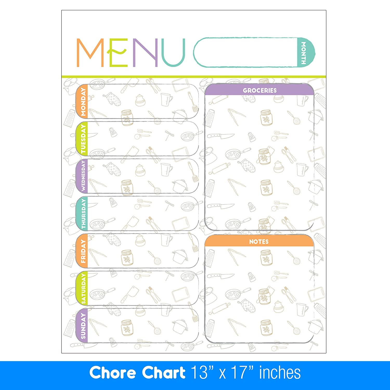Best EXTRA LARGE 13 x 17 -inch Dry Erase or Wet Erase Laminated Magnetic Dry Erase Menu And Groceries Planner - Perfect for Refrigerators Keep a Weekly Meal Plan & Grocery List Pastel White