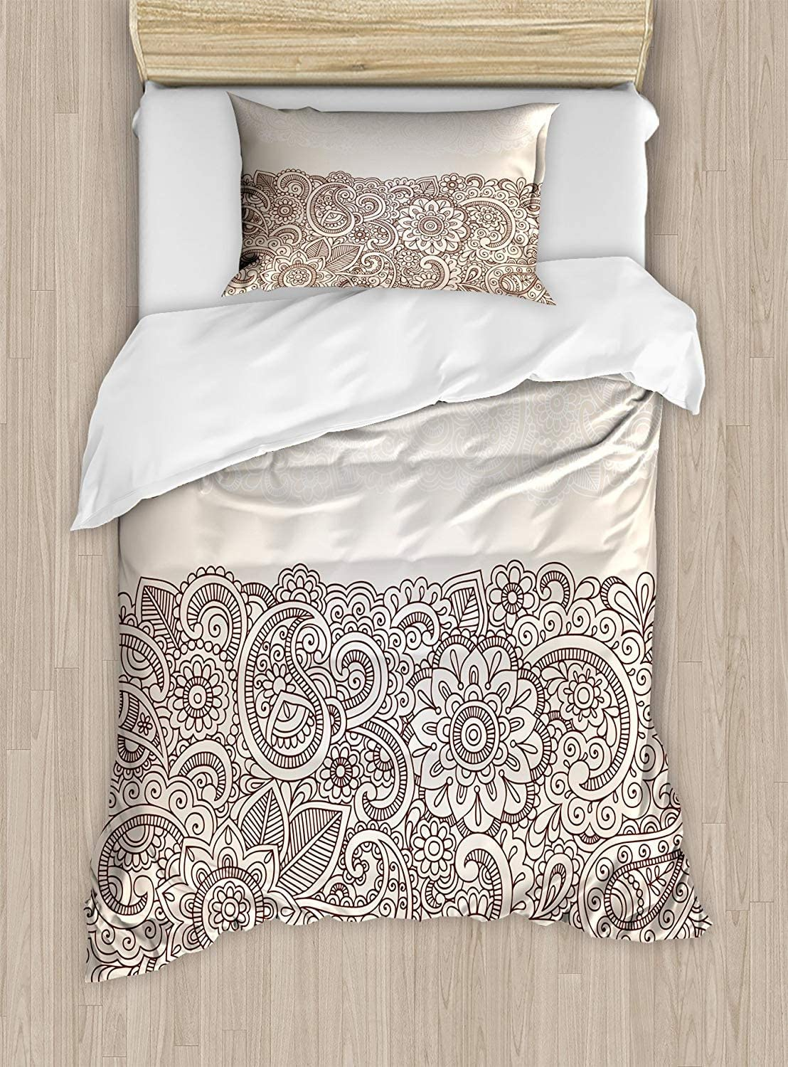 Twin XL Extra Long Bedding Set,Henna Duvet Cover Set,Complex Design with Mandala and Paisley Nature Inspired Traditional Victorian Revival,Cosy House Collection 4 Piece Bedding Setss