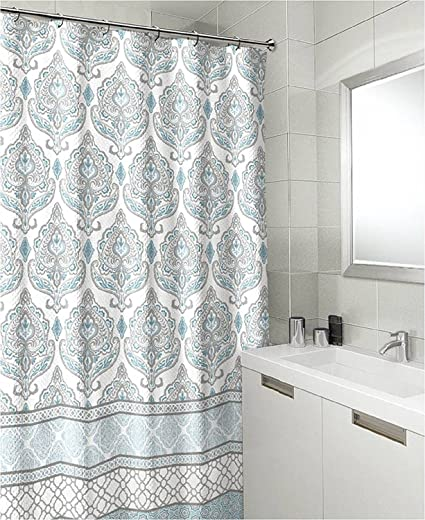 Teal Grey White Canvas Fabric Shower Curtain Floral Damask With Geometric Border Design