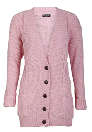 Forever Women's Cable Knitted Grandad Button Cardigan at Amazon ...