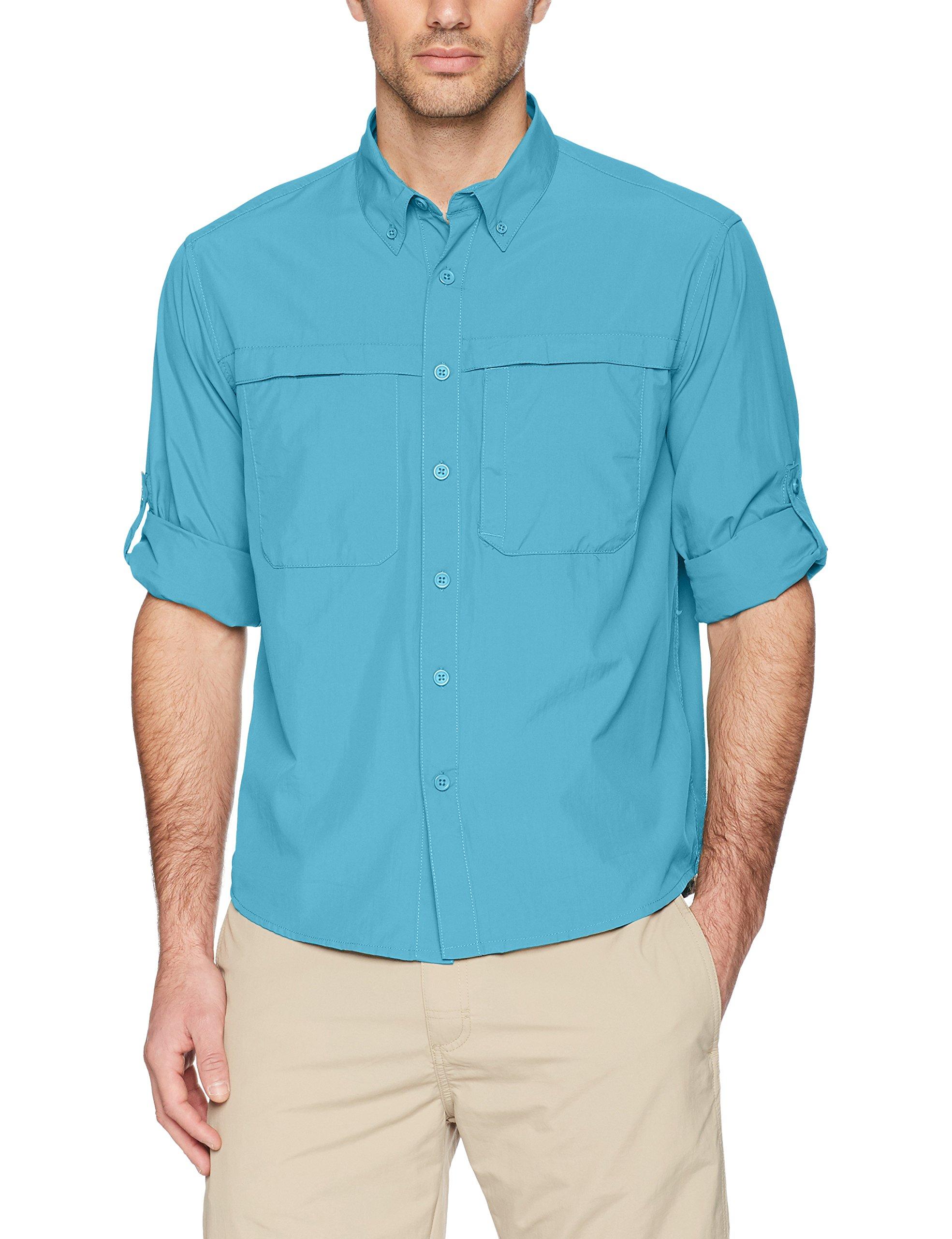White Sierra Kalgoorlie Cool Touch Long Sleeve Shirt, Niagara Blue, X-Large