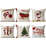 "HOSL SD40 Merry Christmas Series Blend Linen Throw Pillow Case Decorative Cushion Cover Pillowcase Square 18"" - Set of 6"