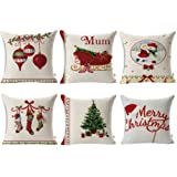 """Amazon Price History for:HOSL SD40 Merry Christmas Series Blend Linen Throw Pillow Case Decorative Cushion Cover Pillowcase Square 18"""" - Set of 6"""