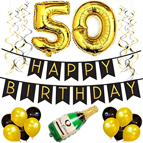 50th Birthday Party Pack Black Gold Happy Bunting Poms And Swirls