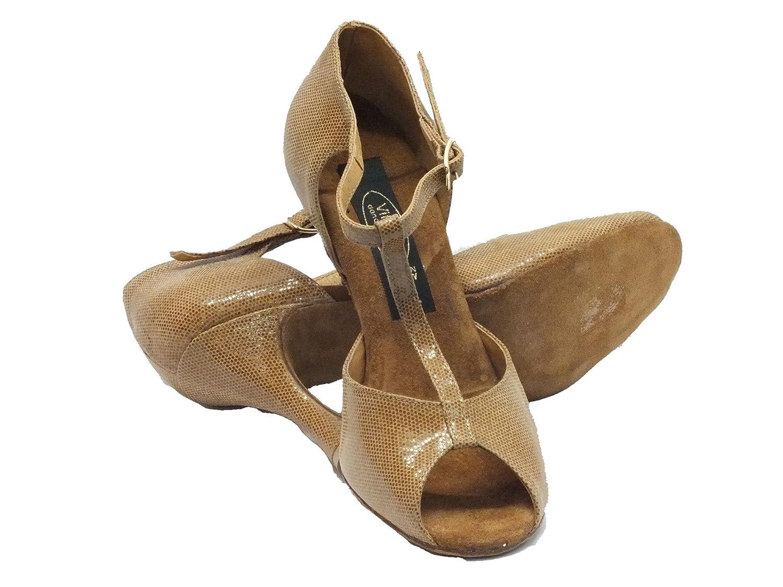 Vitiello Dance schuhe 385 satinato cuoio forma Sandal Sandal Sandal 90 Damen Tanzschuhe Braun braun e8b20e