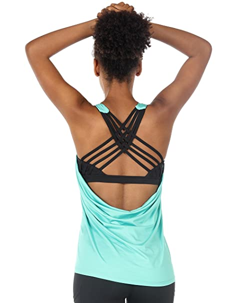 7aca4d3634d0d icyzone Women s Yoga Tank Tops Workout Clothes Activewear Athletic Sport  Shirt Built in Bra (S