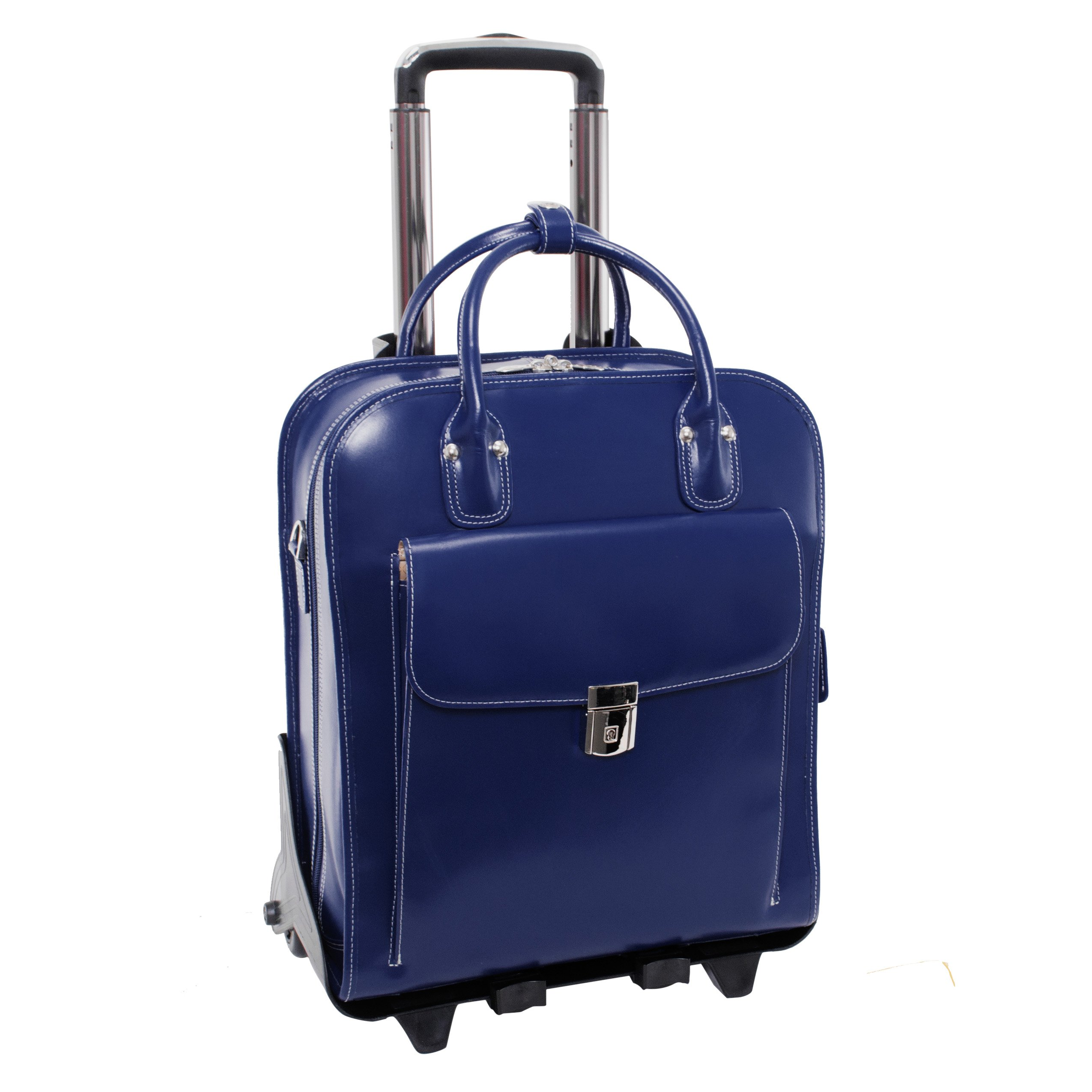 McKlein USA LA Grange Navy 15.6'' Leather Vertical Detachable, Wheeled Ladies' Briefcase (96497)