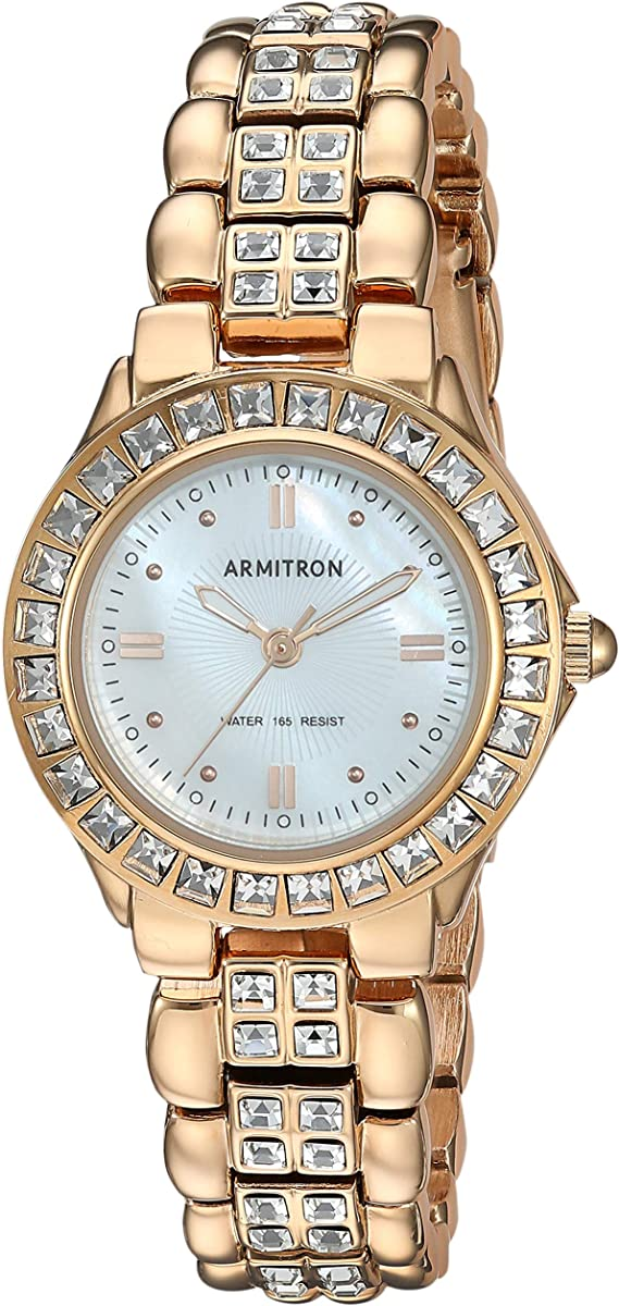 Armitron Women's 75/3689MPRG Swarovski Crystal Accented Rosegold-Tone Dress Watch
