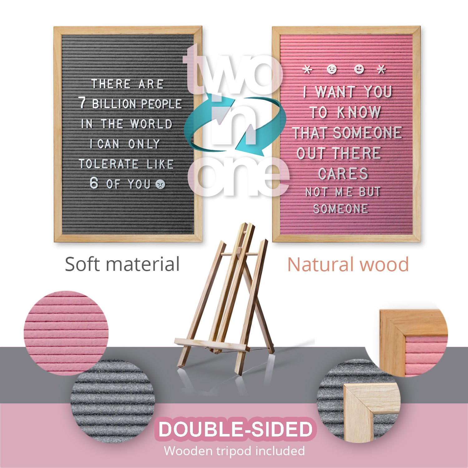 Double Sided Gray and Pink Felt Letter Board with Easel Stand 12 x 18 | 718 Changeable Characters Including 1 inch and ¾ Letters, Symbols, Emojis Hashtag + More | Hook to Hang | 2 Bags