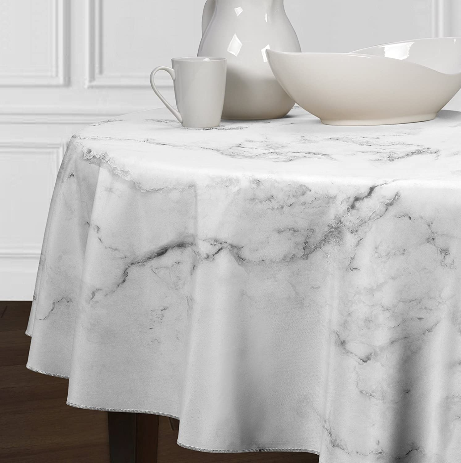 """A LuxeHome Black Grey and White Modern Contemporary Marble Tablecloths Dining Room Kitchen Round 72"""""""