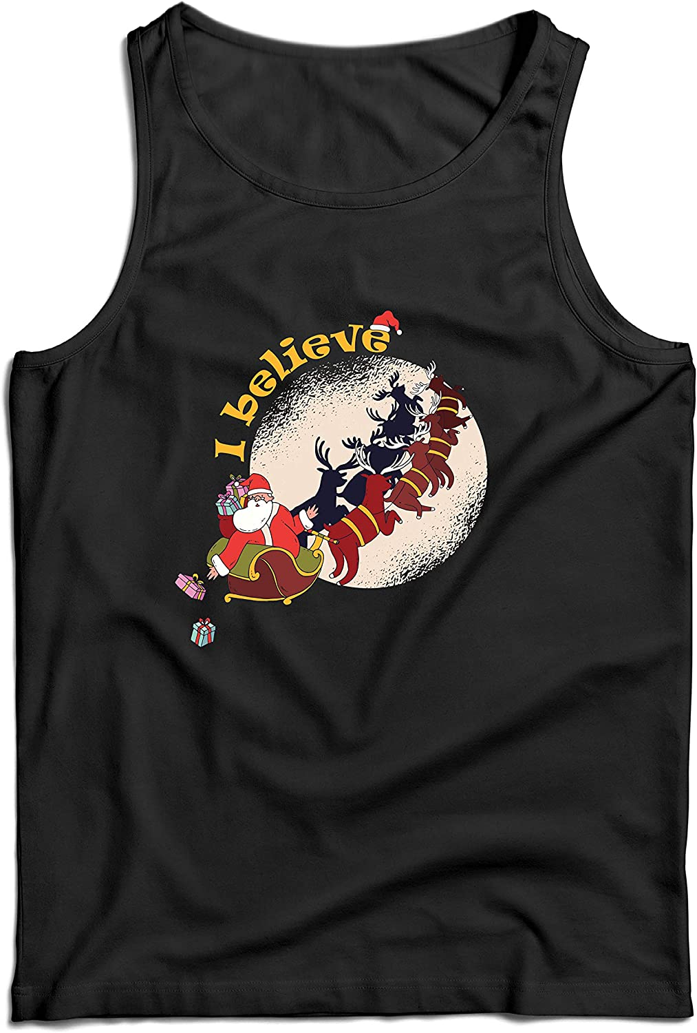 lepni.me Mens Tank Top Believe in Santa Claus Christmas Holiday Print