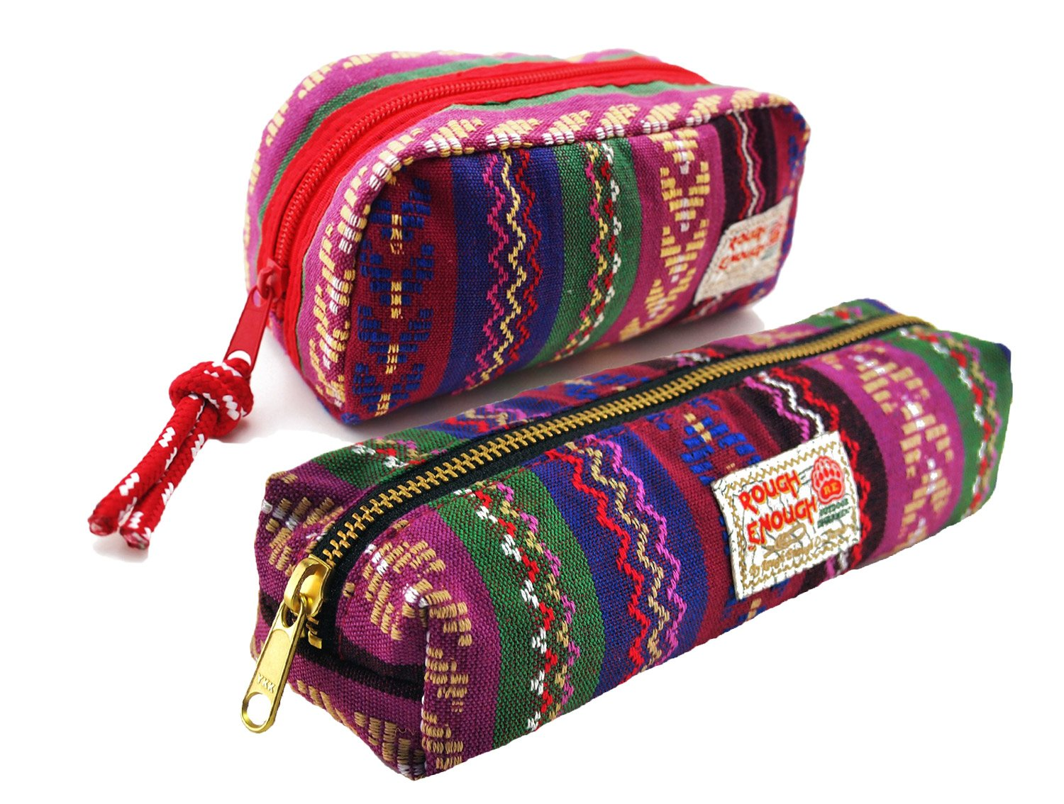 Rough Enough Multi-propose Classic Ethnic Boho Cotton Folk Embroidery Small Travel Cosmetic Pouch Bag Holder Stationary Accessories Organizer Storage with Zipper for Girls Women at School Outdoor Set