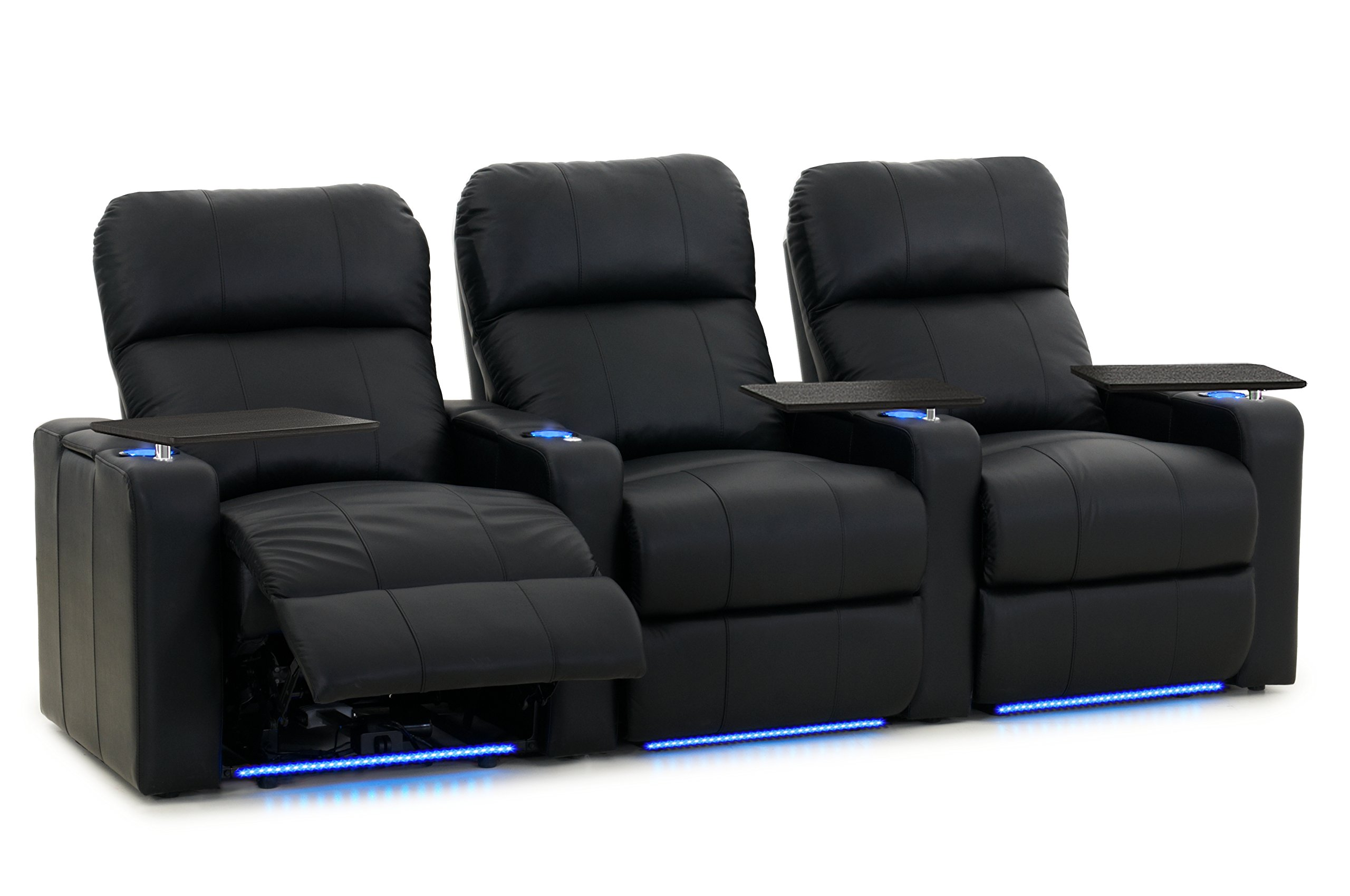 Octane Turbo XL700 Row of 3 Seats, Straight Row in Black Bonded Leather with Power Recline