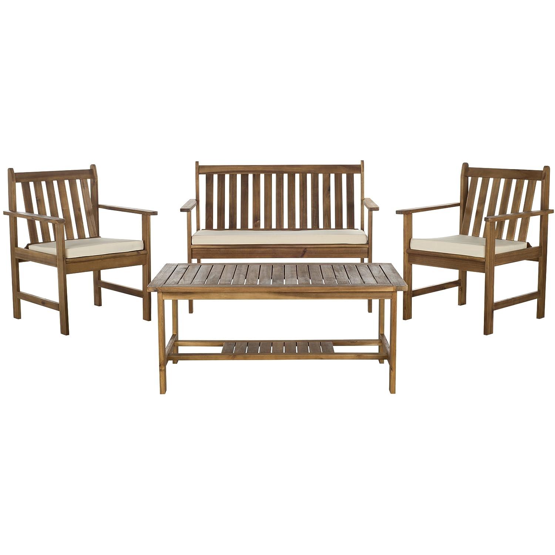 Amazon com safavieh pat7006a 4 piece outdoor collection burbank patio set teak brown beige kitchen dining