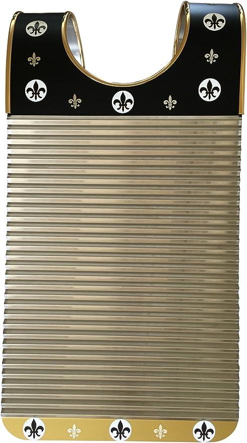 """Washboard Zydeco /""""Black /& Gold Fleur De Lis Rubboard  Free Scratchers"""
