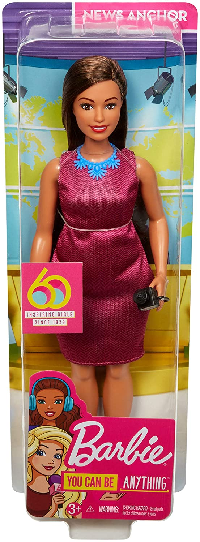 GFX27 jouet pour enfant Barbie M/étiers poup/ée journaliste brune avec un microphone