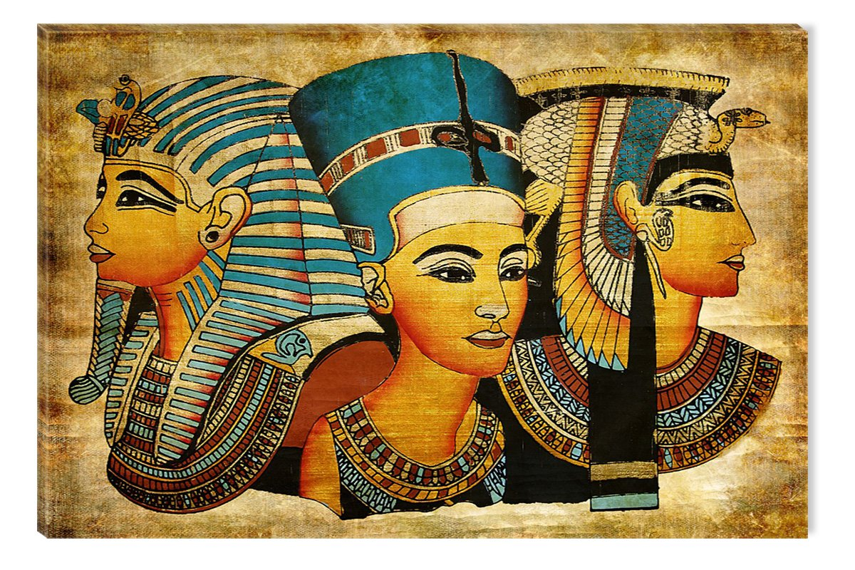 Startonight Canvas Wall Art Egyptian Goddesses, African Glow in the Dark, Dual View Surprise Artwork Modern Framed Ready to Hang Wall Art 100% Original Art Painting 80 x 120 cm