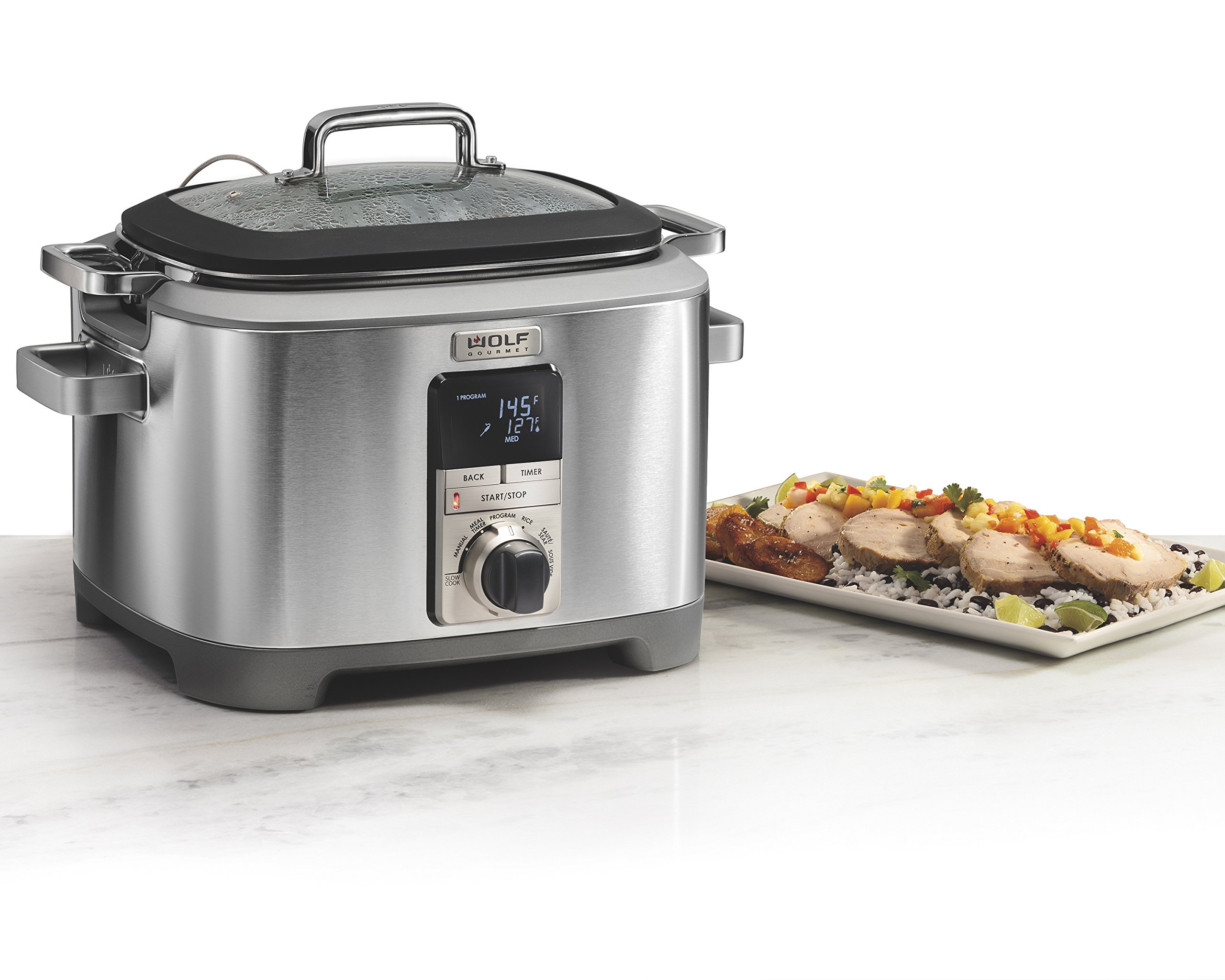 Wolf Gourmet WGSC110S Programmable Multi Function Cooker with Temperature Probe - Slow Cooker, Rice Cooker, Sauté, Sear, Sous Vide, Stainless Steel (Black)