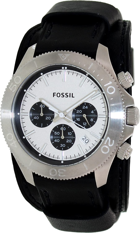 Fossil Men s CH2856 Retro Traveler Chronograph Black Leather Watch
